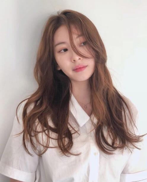 tóc dài ngang lưng Hàn Quốc uốn xoăn lọn gợn sóng