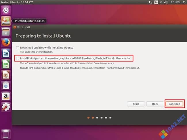 Chọn Install third-part software