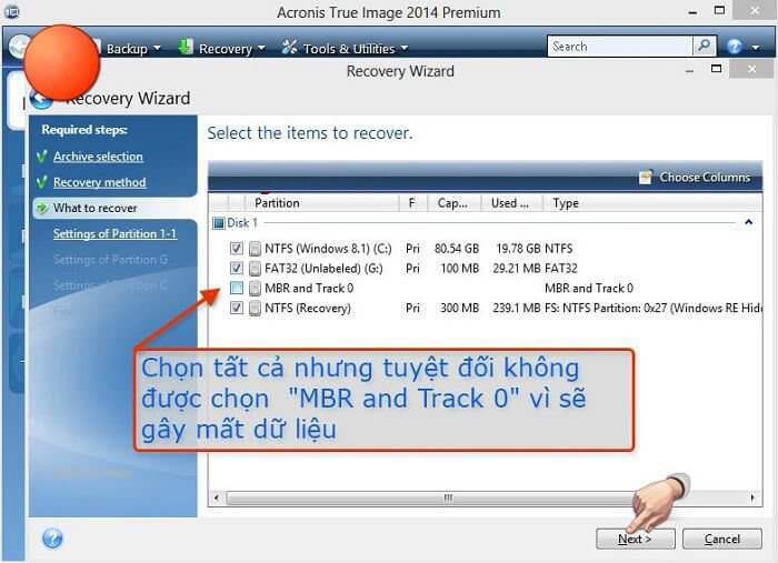 Bỏ chọn mục MBR and Track 0